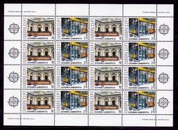 1990 Grecia Greece EUROPA CEPT EUROPE 8 Serie Di 2v. MNH** In Minifoglio Edifici Postali Post Office Minisheet - 1990