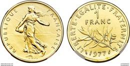 MONNAIE 1 FRANC  SEMEUSE OR PL 1977 ETAT SUP - Goud