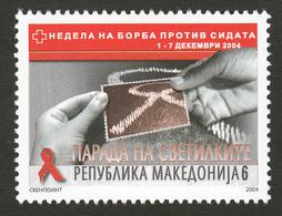 Macedonia 2004 AIDS SIDA Red Cross Croix Rouge Rotes Kreuz Tax Charity Surcharge, MNH - Macedonia