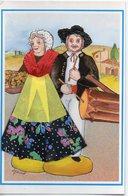 Carte Brodée, Costume Folklorique - Santons De Provence. Le Tambourin Et La Bouquetière - N° 6 - NEP - Brodées