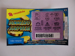Loterie Lottery Loteria Lotaria Instant Instantânea Raspadinha Jogo Nº 414 Dinheiro SupressaPortugal - Lottery Tickets