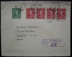 Montréal 1937 Lettre Recommandée Avec N°179a +181a Bande De 4 Dentelés 8 1/2 Verticalement, Pour Paris, France - 1937-1952 George VI