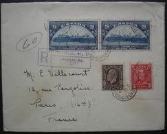 Montréal 1936 Lettre Recommandée Avec N°168 X2 + 162 + 181  Pour Paris, France - 1911-1935 George V