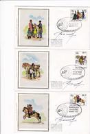 2 Scans Enveloppes Cover Brief FDC Soie 2071 à 2076 Belgica 82 Histoire Postale Signés Par Le Dessinateur - FDC