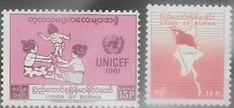 Burma  1961-3    Sc#167 & 172 MLH   2016 Scott Value $4.35 - Birmanie (...-1947)