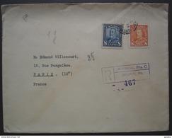 Montréal 1939 Lettre Recommandée Avec N°149 + 184  Pour Paris, France - 1937-1952 George VI