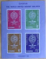 122.GHANA 1982 IMPERF STAMP M/S WORLD UNITED AGAINST MALARIA , MEDICINE. MNH - Ghana (1957-...)