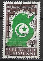 TUNISIE   -   1958 .  Y&T N° 451  Oblitéré.   Carte De La Tunisie - Tunisia