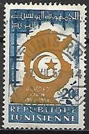 TUNISIE   -   1958 .  Y&T N° 456  Oblitéré.   Carte De La Tunisie - Tunisia