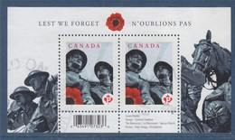 = Bloc Canada N'Oublions Pas Le Monument Vernon March, Oblitéré 2 Timbres,  Tvp Type Gommé - Blocs-feuillets