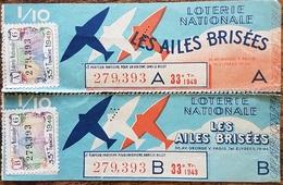 Billet De Loterie Nationale Entier 1940 33e Tranche Série A Et B - LES AILES BRISÉES - 1/10 Un Dixième - Lottery Tickets