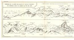 CARTE 1926 - 15 X 51 Cm - PANORAMA De La CHAINE Des HAUTES Et BASSES PYRÉNÉES VUE GÉNÉRALE PRISE Du SOMMET Du PIC De GER - Topographical Maps