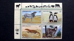 UNO-Wien 143/6 **/mnh, Gefährdete Arten, Grevyzebra, Humboldtpinguin, Wüstenwaran, Wolf - Centre International De Vienne