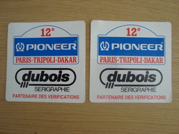 LOT DE 2 AUTOCOLLANTS 12e PARIS TRIPOLI DAKAR PIONEER DUBOIS SERIGRAPHIE - Pegatinas