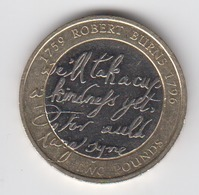 Great Britain UK £2 Two Pound Coin 2009 Robert Burns - Circulated - 2 Pounds