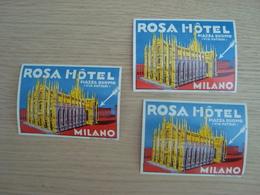 LOT DE 3 ETIQUETTES D'HOTELS ROSA HÔTEL MILANO PIAZZA DUOMO - Adesivi Di Alberghi