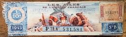 Billet De Loterie Nationale 1943 3e Tranche Série B - Les Ailes De L'Empire Français - 1/10 - Coloniaux - Lottery Tickets