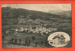 ZAL-07 Planfayon Plaffeyen  En Médaillon, Gasthof Zum Hirschen . Gelaufen 1910 Nach Fribourg - FR Fribourg