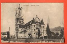 ZAL-09  RARE Bau Der Kirche Planfayon Plaffeyen. Circulé En 1908 ? Vers Fribourg. Angle Plié,Papier Fin - FR Fribourg