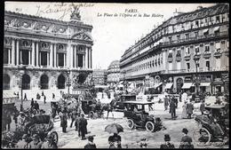 PARIS - La Place De L'Opéra Et La Rue Halévy Vieilles Voitures Et Attelages Old Cars And Hitches Horses - Cartoline