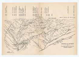 CARTE 1927 - 14 X 20 Cm - MONTAGNES ENVIRONS De CAUTERETS - PYRÉNÉES - DESSINÉ Par FRANZ SCHRADER - Topographical Maps