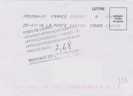 Toshiba 05505A-01 A TAXER Du 25-01-18 + Griffe 7 Lignes ..........taxe De Base - Marcophilie (Lettres)