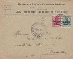 Enveloppe OC12 14 Compagnies Belges D'assurances Générales Petit-Rechin Dison Cachet Censure Militaire Verviers - [OC1/25] Gen.reg.