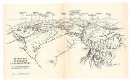 CARTE 1926 - 11,7 X 19 Cm - REVERS SUD Du MARBORÉ Et Du MONT PERDU - PYRÉNÉES - DESSINÉ Par FRANZ SCHRADER - Topographical Maps