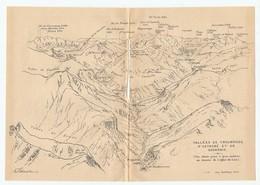 CARTE 1923 - 13,5 X 19 Cm - VALLÉE De TROUMOUSE D'ESTAUBÉ Et De GAVARNIE - PYRÉNÉES - DESSINÉ Par FRANZ SCHRADER - Topographical Maps
