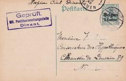 Carte OC2 Dinant à Namur Cachet Censure Mlilitaire Dinant Geprüft Mn. Postüberwachungsstelle - Stamped Stationery