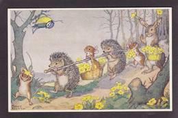 CPSM Hérisson Position Humaine Souris Mouse Lapin Par Molly Brett - Animales