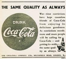 Original-Anzeige / Advertise (UK) 1946 - COCA COLA - Ca. 90 X 80 Mm - Publicidad