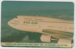 MALAYSIA (Uniphonekad)- Eva Air (Airplane), CN:1MEVA, 01/94, Tirage 10.000, Used - Malaysia