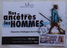 Carte Maximum Card  France   Exposition Cherbourg 2010 Nos Ancêtres Les Hommes Timbre Institut Breuil Prince Albert - Archaeology