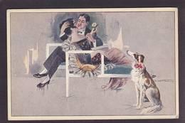 CPA Lévrier Chien Dog Non Circulé Femme Women Par Crotta - Perros