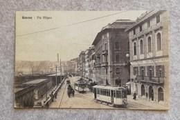 Cartolina Illustrata Genova - Via Milano, Per Firenze 1918 - Genova (Genoa)