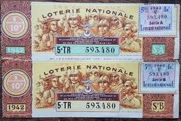 Billet De Loterie Nationale Entier 1942 5e Tranche Série A Et B - LES COLONIAUX - 1/10 Un Dixième - 11 Francs - Lottery Tickets