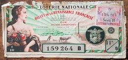 Billet De Loterie Nationale 1942 11e Tranche Série B - BILLET DE LA RENAISSANCE FRANÇAIS ANCIENS COMBATTANTS - 1/10 - Lottery Tickets