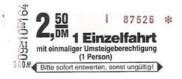 AK-H   Fahrkarte - Verkehrsbetriebe Weimar GmbH , 2,50 DM Mit Umsteigmöglichkeit - Bus