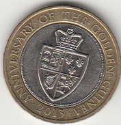 Great Britain UK £2 Two Pound Coin (Golden Guinea) - Circulated - 2 Pounds