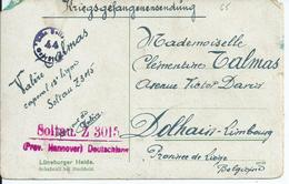 Kriegsgefangenensendung Van Soltau Naar Dolhain-Limbourg Met Kampcensuur - Weltkrieg 1914-18
