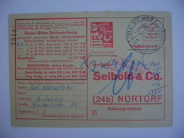 BUSINESS CARD SEIBOLD & CO. , RECIPE FOR TREATMENT WITH PURE HONEY BEES IN 1958 - Api