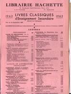 Paris Librairie HACHETTE: Les Livres Classiques 1962 (PPP22950) - Publicidad