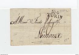 Sur Lettre De Marque Postale Linéaire 104 Turin. Taxe Manuscrite. Destination Limoux. (2177x) - 1792-1815: Dipartimenti Conquistati