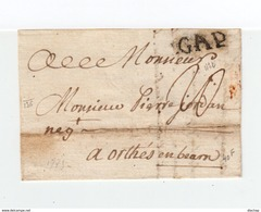 Sur Lettre De 1775 Marque Postale Linéaire Gap. Taxe Manuscrite. Destination Orthès En Béarn. (2178x) - 1701-1800: Precursores XVIII