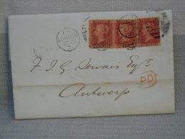 LETTRE CACHETEE- 3 X ONE PENNY ROUGE DENTELE - OBLITERES + CACHET LONDON 1871 - 1840-1901 (Regina Victoria)