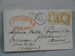 LETTRE CACHETEE- Port De 2 X 15 C Jaune- OBLITERES 1874 ORCHIES POUR HANNUT / BRAIVES - 1849-1876: Klassik