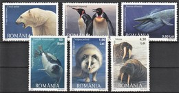 2007 Romania Polar Wildlife: Polar Bear, Harp Seal, Arctic Fox, King Penguin, Blue Whale, Walrus Set (** / MNH / UMM) - Arctic Wildlife