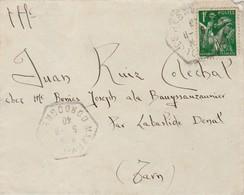 Yvert 432 Iris Seul Sur Lettre Cachet Hexagonal MAZEYROLLES Dordogne 5/9/1940 à Labastide Dénat Tarn Cachet Perlé - Poststempel (Briefe)