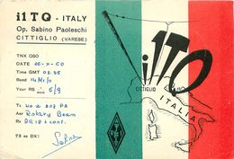 QSL I1TQ - Sabino Paoleschi Op. CITTIGLIO  ITALIE 1960 + Timbre - Radio Amateur